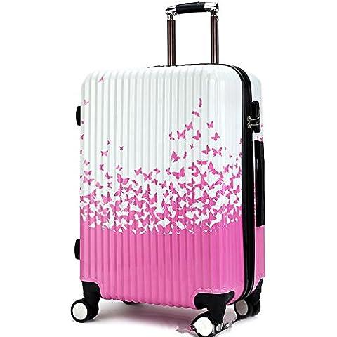 MHGAO Prova di esplosione con cerniera carrello universale di viaggio bagagli valigia , pink , 20 inch