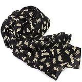 TOOGOO(R) Foulard/echarpe pour femmes En mousseline Noir Design de chat en beige