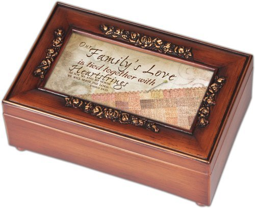Our Family 's Love Tapisserie Holz-Finish Petite Rose Schmuck Musik Box Amazing Grace - Rose Finish