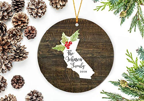 C-US-lmf379581 California State Ornament, California Christmas Ornament, Personalized Family Ornament, Wedding Ornament