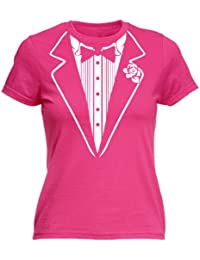 LADIES TUXEDO - NEW PREMIUM FITTED T SHIRT (VARIOUS COLOURS) - S M L XL 2XL - by 123t