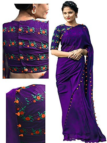 RV Creation Women's latest Designer Ethnic Wear Purple Color Georgette Saree With...