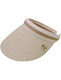 13765a55206 LA HAUTE Women Summer Sun Visor Large Brim Straw Beach Sun Hat Outdoor  Sports Cap