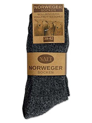 6 Paar Norweger Socken mit Wolle in Grau oder Anthrazit Herrensocken - AD220 (43-46, 6 Paar   Anthrazit) - 3