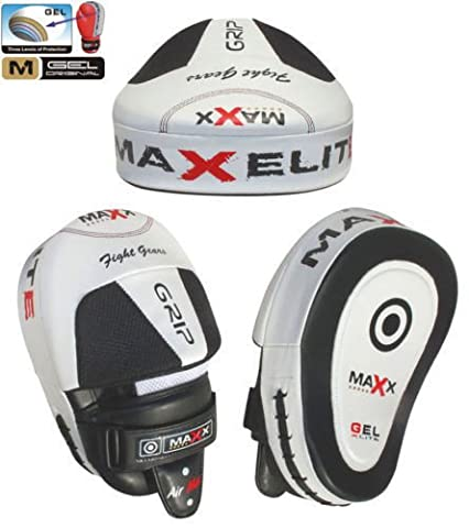Maxx BOXING GLOVES & LEATHER CURVED FOCUS PADS MMA Boxing