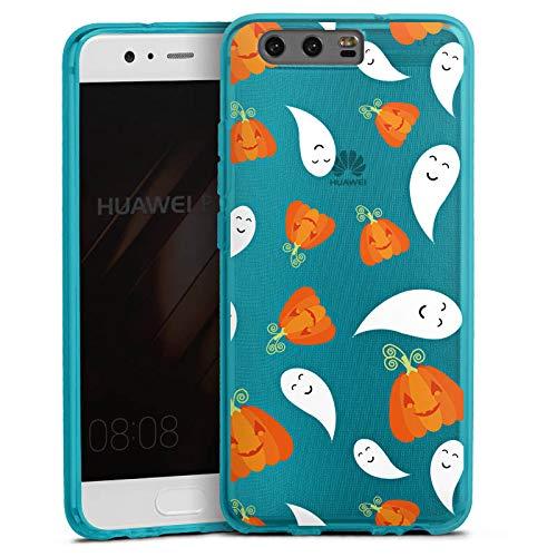 DeinDesign Silikon Hülle transparent hellblau Case Schutzhülle für Huawei P10 Halloween Muster Gruselig