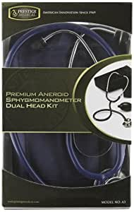 CRAFTED BY PRESTIGE MEDICAL/NCD A PREMIUM ANEROID SPHYGMOMANOMETER AND DUALHEAD STETHOSCOPE KIT WITH CARRYING CASE IN NAVY BLUE