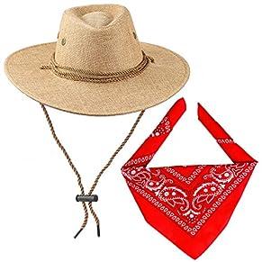 Haichen Accesorios de Disfraces de Vaquero Sombrero de Vaquero con pañuelo Conjunto de Vaquero para Halloween Cosplay Disfraces (marrón)