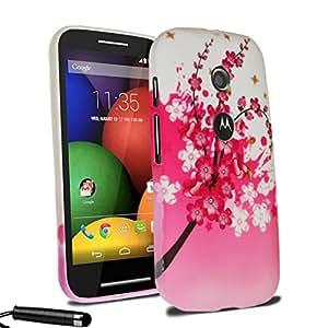 Typeandcolor® Motorola Moto E Premium TPU custodia protettiva in gel di silicone, motivo floreale, penna stilo e protezione e panno