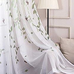 YAOYAO Home 2er-Set Idyllische Weide Schatten Vorhänge Wohnzimmer Schlafzimmer Balkon Boden Fenster Vorhänge Im Landhausstil(230 x 100 cm,Tüllvorhänge)
