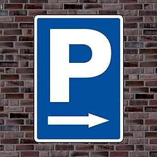 Parkplatzschild Symbol «Pfeil rechts» - Hochwertiges Alu-Verbundmaterial - Größe 30 x 21cm (ca. DIN A4)