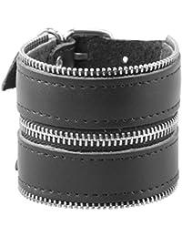 Bracelet Insolite 'Fermeture Éclair' en Cuir Noir pour Homme.
