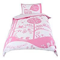 Papercut Woodland Friends Girls Duvet Cover and Pillowcase Bedding Set for Single Beds