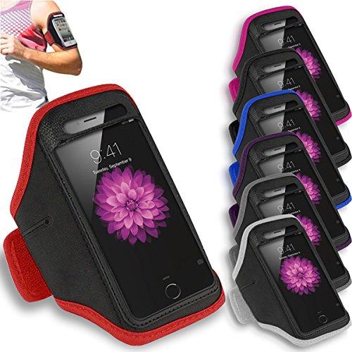 Apple iPhone 6 Plus - Réglable Brassard Gym Courir Titulaire Jogging Sport Cover Case + Chiffon ( Hot Pink ) Violet foncé