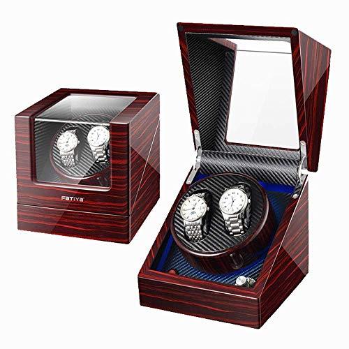 SuRose Automatik Uhrenbeweger Box 2 Automatik Uhrenbeweger PU Leder 5 Rotationsmodi Uhren Aufbewahrung Vitrine Box -