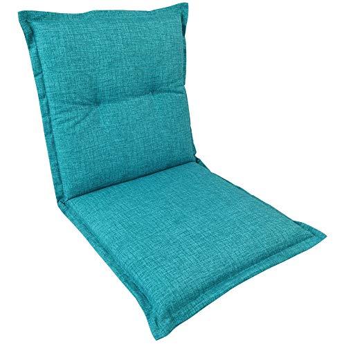 SunDeluxe Mittellehner Auflage Comfort für Gartenstühle 97x50 cm Türkis - Outdoor Stuhlauflage wasserabweisend und schmutzabweisend - Sitzauflage mit Öko-Tex100, Qualität Made in EU