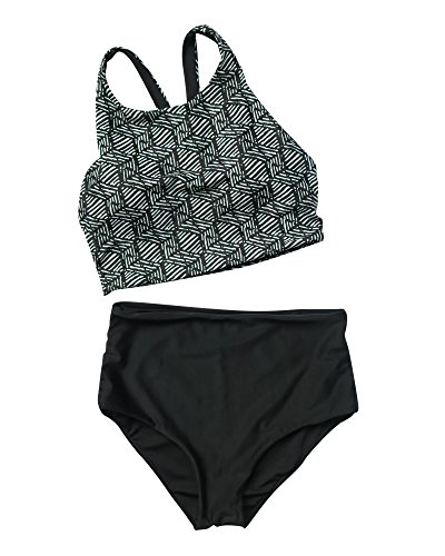 LEESMILE Frauen High Neck Racerback Gestreifte Top Leaf Printed High Waist Badeanzug Bikini Set (S = EU 32-34, Schwarz-1) (Neck High Printed Bikini-top)
