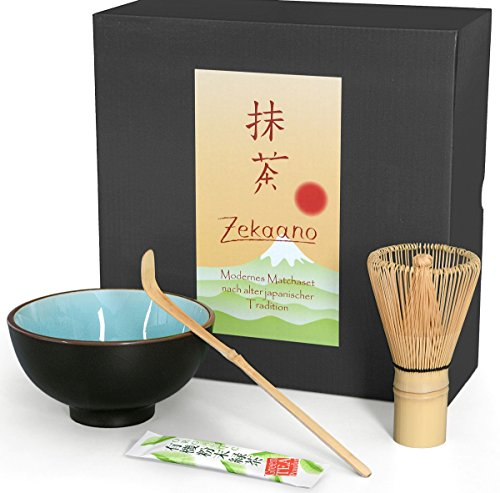 Matcha-Set 3-teilig, himmelblau, bestehend aus Matcha-schale, Matcha-löffel und Matcha-besen (Bambus) in Geschenkbox. Original Aricola®
