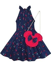 Mädchen Kleid Kirsche Obst Drucken Baumwolle Mit Niedlich Handtasche Blau