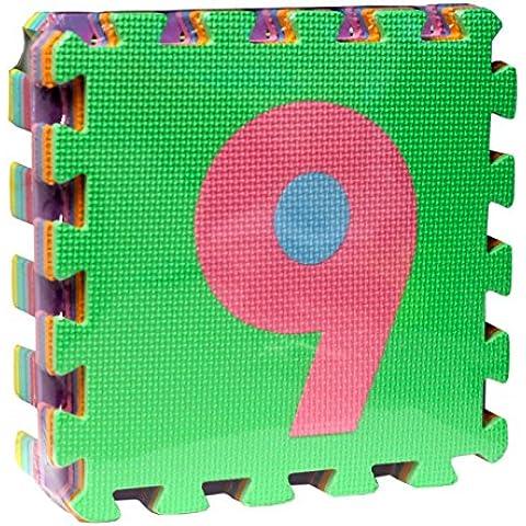 Alfombra de puzzle goma eva 9 piezas Mod. números 31 x 31 x 9 cm