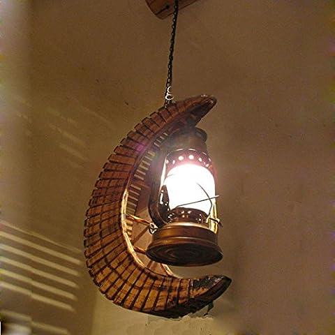 KMDJ Sud-est asiatico Bamboo mezzaluna catena pendente soffitto corridoio di luce di bambù con lanterna in vetro luce pendente Ristorante corridoio balcone Ciondolo lampada