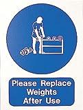 Bitte ersetzen Gewichte nach Gebrauch Schild Warnung & Sicherheit Foamex Schilder 400x 300x 2mm