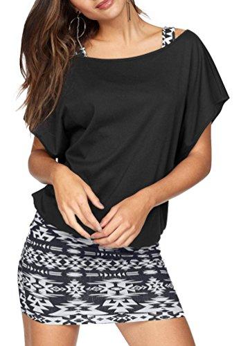 Jusfitsu Damen Ohne Arm Kleid Aus Oversize Shirt 2-in-1(Set 2 tlg) Sommer Minikleid Standkleid Schwarz-Weiß S Sommer Kleid Set
