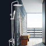 Bijjaladeva Wasserfall Mischbatterie Armatur Waschbeckenarmatur für Multi-Layer aus vernickeltem Messing Duscharmaturen Eine Wichtige Drei-kontrollierte Wasser Dusche Badewanne Dusche Handbrause Kit