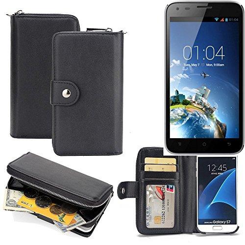 K-S-Trade 2in1 Handyhülle für Kazam Trooper X5.0 hochwertige Schutzhülle & Portemonnee Tasche Handytasche Etui Geldbörse Wallet Case Hülle schwarz