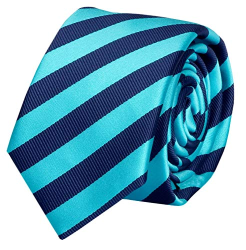 Fabio Farini Schlips Krawatte Krawatten Binder 6cm dunkelblau türkis gestreift