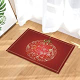 Boule de noel art deco fleur plume rouge Tapis de salle de bain tapis de porte anti-glisse entrée de sol tapis de porte d'entrée extérieur intérieur extérieur tapis de salle de bain pour 50x80cm