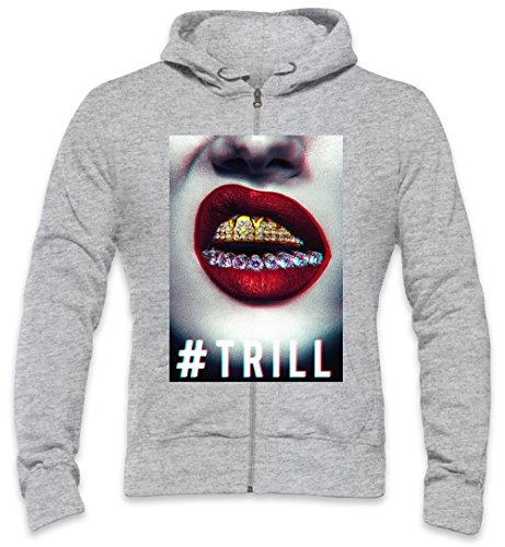 Asap Rocky Gold Teeth Diamond Red Lips Trill Mens Zipper Hoodie XX-Large Rocky Mens Zipper