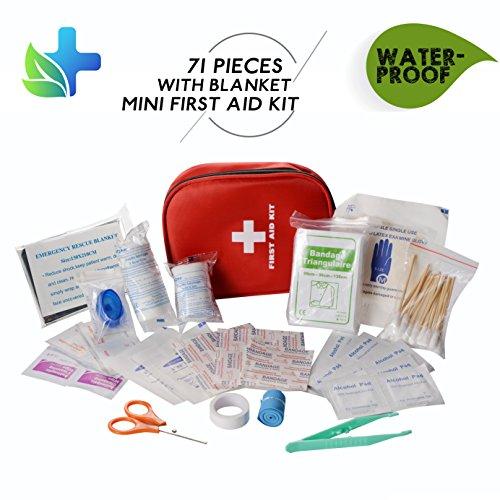 CAMMATE Emergency Erste-Hilfe-Kit, 70 Stück medizinische Versorgung in Mini Überlebensbeutel für Zuhause, Reisen, Fahrzeug, Büro, Wandern, Kinderbetreuung