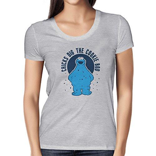 TEXLAB - Chicks dig the Cookie Bod - Damen T-Shirt Grau Meliert