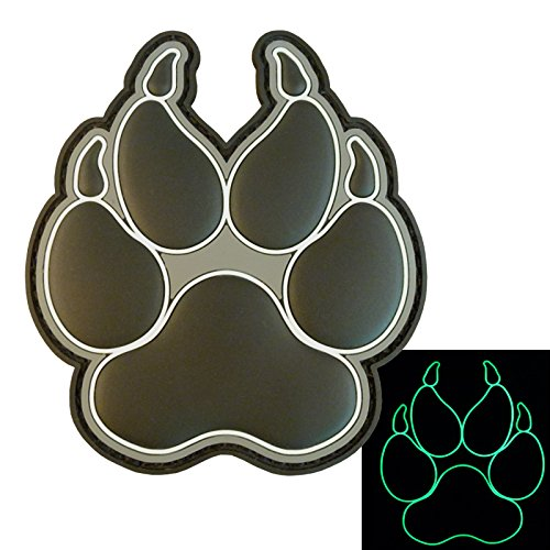 Glow Dark ACU K-9 Paw K9 Handler Dogs of War Morale Army Gear PVC Touch Fastener Patch