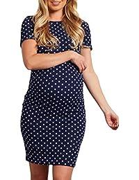 34625b32c Cinnamou Regalo de mamá Embarazada Vestidos para Mujer Lunares Camisas  Vestido Mangas Cortas Verano sobre la