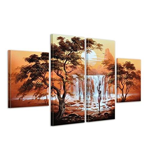 """Bilderdepot24 \""""Afrikanische Kunst M2 handgemaltes Leinwandbild 120x80cm 4 teilig 463"""