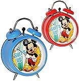 Kinderwecker -  Disney Mickey Mouse  - für Kinder - großer Wecker Analog - Alarm Metall / Metallwecker - für Jungen & Mädchen - Maus Playhouse - Mäuse - Micky - Surfer