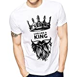 Ghantababajia Men's Polyester and Cotton Printed Live Like A King T- Shirt (idk003-$p, White, Medium)
