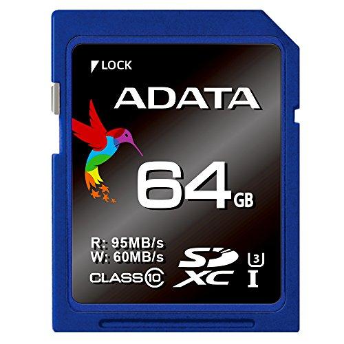 ADATA Premier Pro SDXC 64GB UHS-I U3 Class 10 Speicherkarte, bis zu 95/60 MB/s für DSLR/ 4K-Digitalkameras/ Full HD Camcorder/ 3D Full HD Camcorder geeignet (ASDX64GUI3CL10-R)