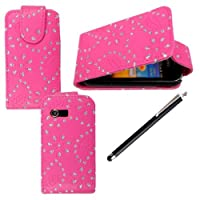 SAMSUNG GALAXY Y S5360 PU LEATHER MAGNETIC FLIP CASE SKIN COVER WALLET POUCH +STYLUS pink glitter flip