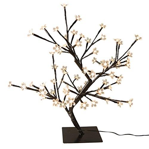 Krismase Dekorativer Weihnachtsbaum mit 48 LED-Lampen in Kirschblütenform, Höhe 45 cm, mit kleinem Eisenständer, Sakura, für Heim und Garten, als Hochzeits-, Geburtstags- und Weihnachtsdeko, cremeweiß