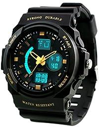 Dictac Montre de Sport Imperméable pour Natation, Montre-bracelet 50M étanche et anti-choc Watch pour Hommes, Femmes et enfants (L, Or)