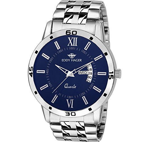 Eddy Hager Blue Round Dial Day And Date Men's Watch Eh-247-Bl