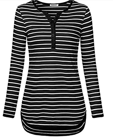 Jusfitsu Damen Streifen Langarmshirt V-Ausschnitt Tunika Basic Casual T-Shirt Obertail Schwarz XXL