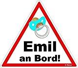 easydruck24de Auto-Aufkleber Baby an Bord, Emil I kfz_224 I 16 x 14 cm groß I Junge Sticker mit Schnuller I Hinweis-Aufkleber Achtung Vorsicht I Wetterfest