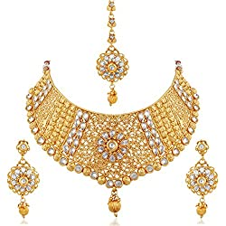 Apara Exquisite Gold Plated Diamond Studded Bridal Necklace Set Maang Tikka For Women