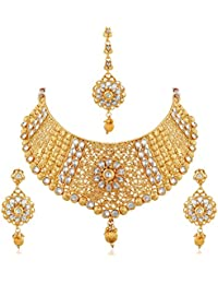 77bd3ae01 Apara Exquisite Gold Plated Diamond Studded Bridal Necklace Set Maang Tikka  for Women