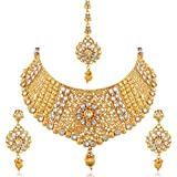 #7: Apara Exquisite Gold Plated Diamond Studded Bridal Necklace Set Maang Tikka For Women