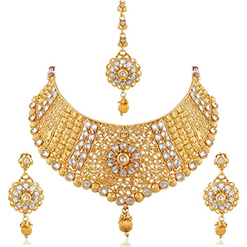 Apara Exquisite Gold Plated Diamond Studded Bridal Necklace Set Maang Tikka For...